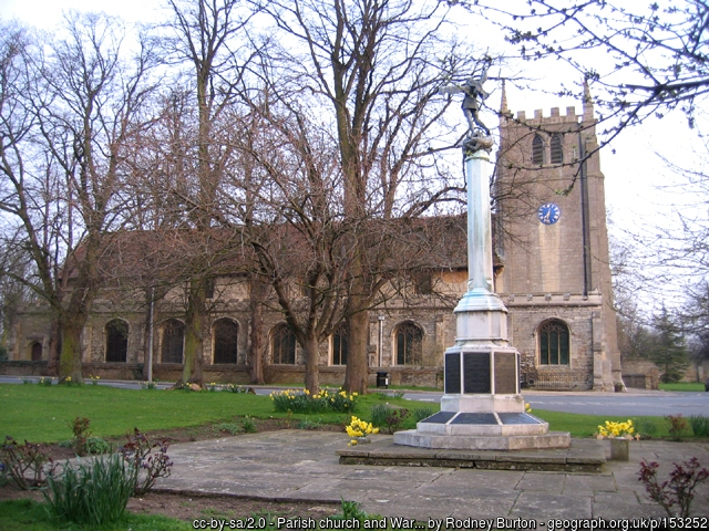 Parish Church and War memorial at Ramsey, Cambridgeshire